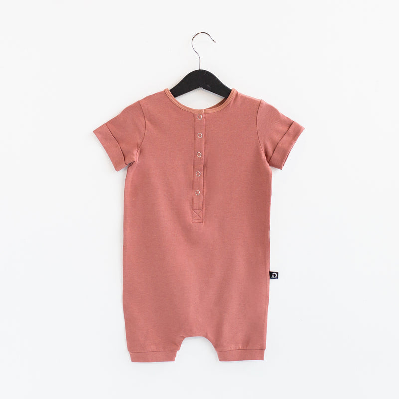 Rolled Short Sleeve Henley Short Essentials Rag Romper - 'Light Mahogany'