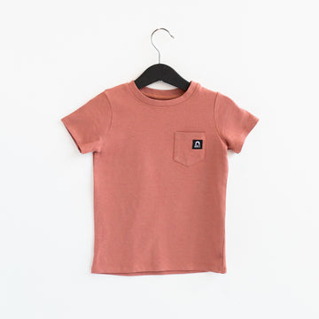 Short Sleeve Chest Pocket Kids Essentials Tee - 'Light Mahogany'