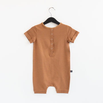Short Sleeve Henley Short Essentials Rag Romper - 'Rag in Core Colors'