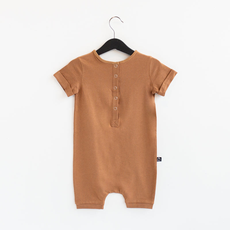 Rolled Short Sleeve Henley Short Essentials Rag Romper - 'Camel'