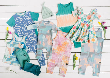 Infant Rag Romper - 'Painterly Swatches' - Easter