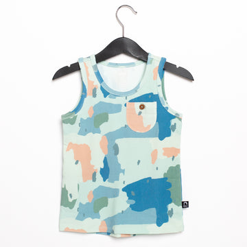Kids Pocket Tank Tee with Button - 'Painterly Swatches' - Easter