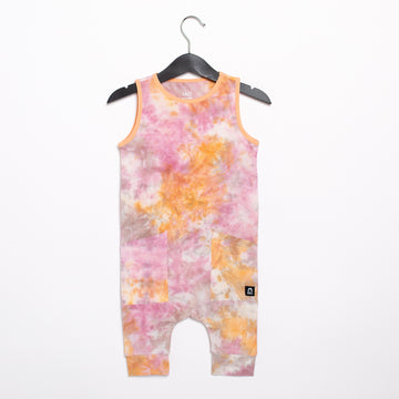 Tank Capri Hip Pocket Rag Romper - 'Tie Dye' - Apricot Wash & Misty Rose