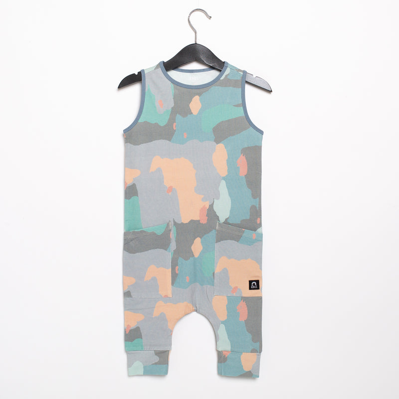 Tank Capri Hip Pocket Rag Romper - 'Painterly Swatches' - Easter