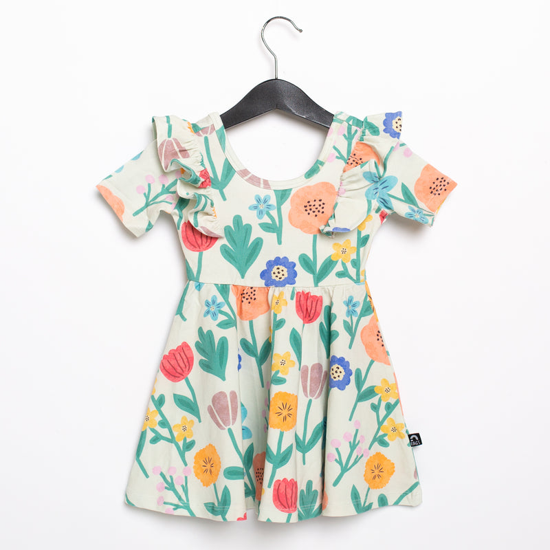 Short Sleeve Ruffle Swing Dress - 'Colorful Floral' - Easter