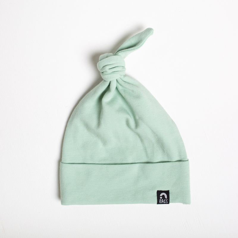 Top Knot Baby Hat - 'Aqua Foam'