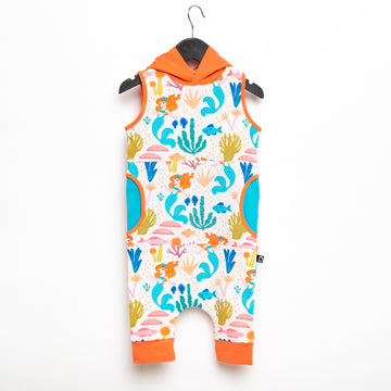Tank Hooded Capri Peek Pocket Rag Romper - 'Under the Sea Floral' - Disney Collection from RAGS
