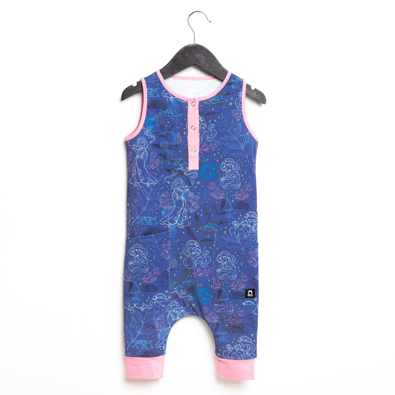 Tank Henley Capri Hip Pocket Rag Romper - 'Jasmine Constellation Floral' - Navy - Disney Collection from RAGS