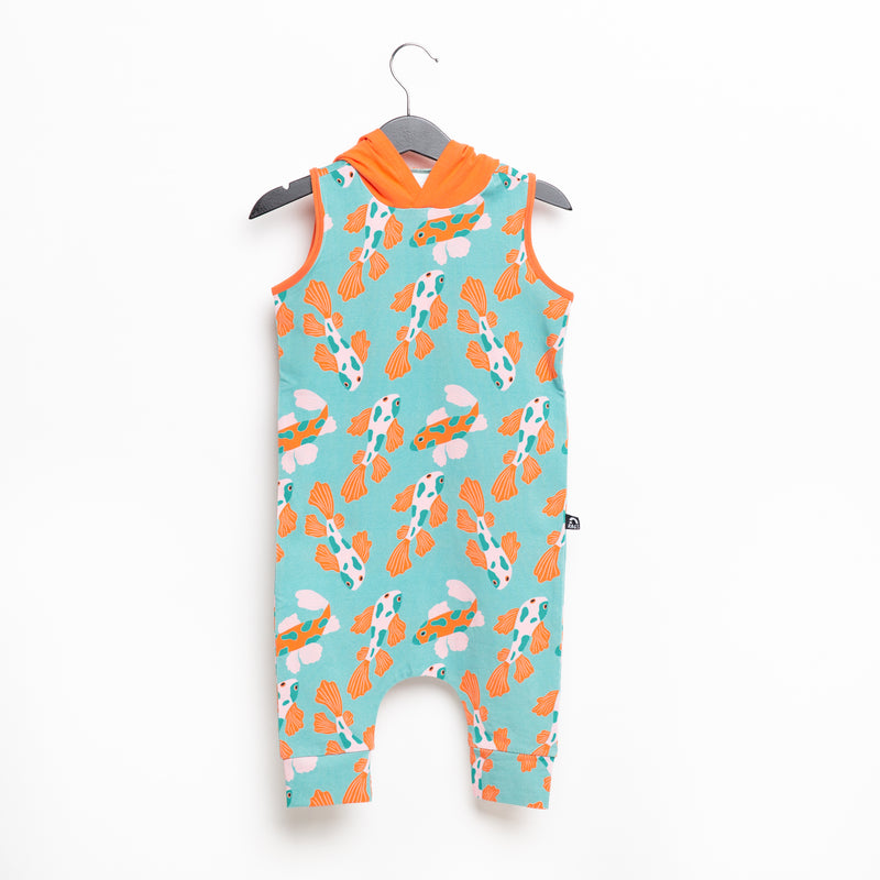 Tank Hooded Capri Rag Romper - Koi Fish