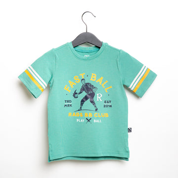 Retro Sleeve Kids Tee - 'Fast Ball' - Wasabi