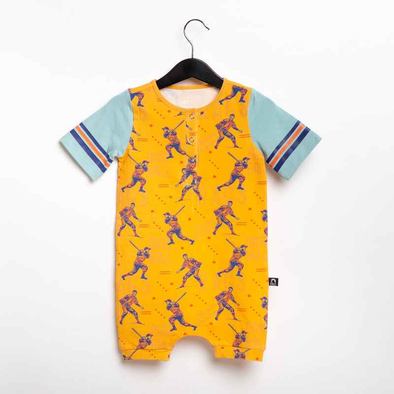 Retro Short Sleeve Henley Short Rag Romper - 'Baseball Players' - Warm Apricot