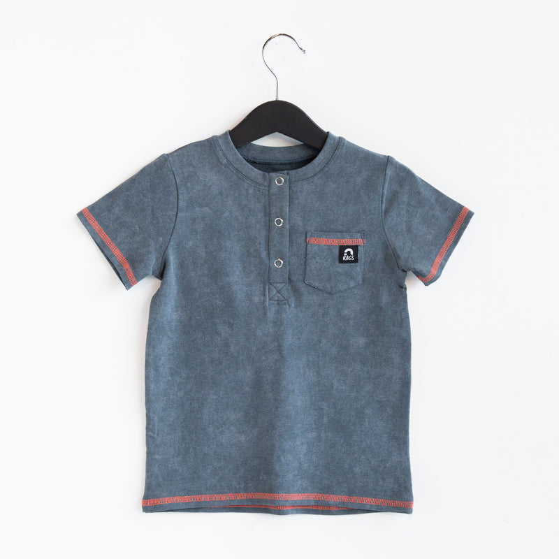 Short Sleeve Henley Pocket Rounded Kids Tee - 'Dark Slate Stone Wash'