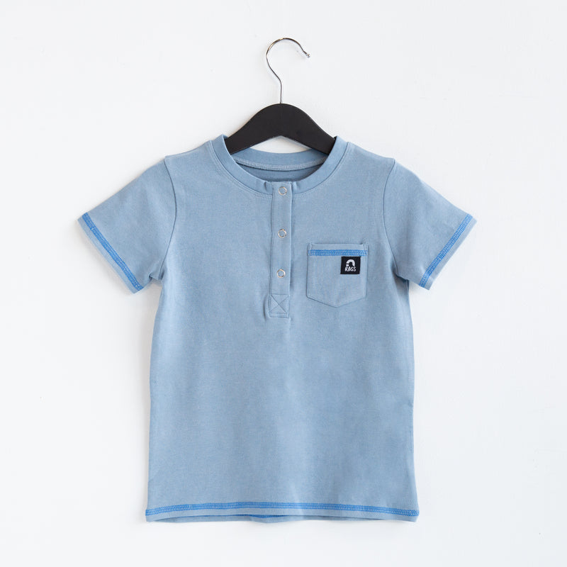 Short Sleeve Henley Pocket Rounded Kids Tee - 'Dream Blue Stone Wash'