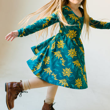 Long Sleeve Swing Dress - 'Sunflower Floral'