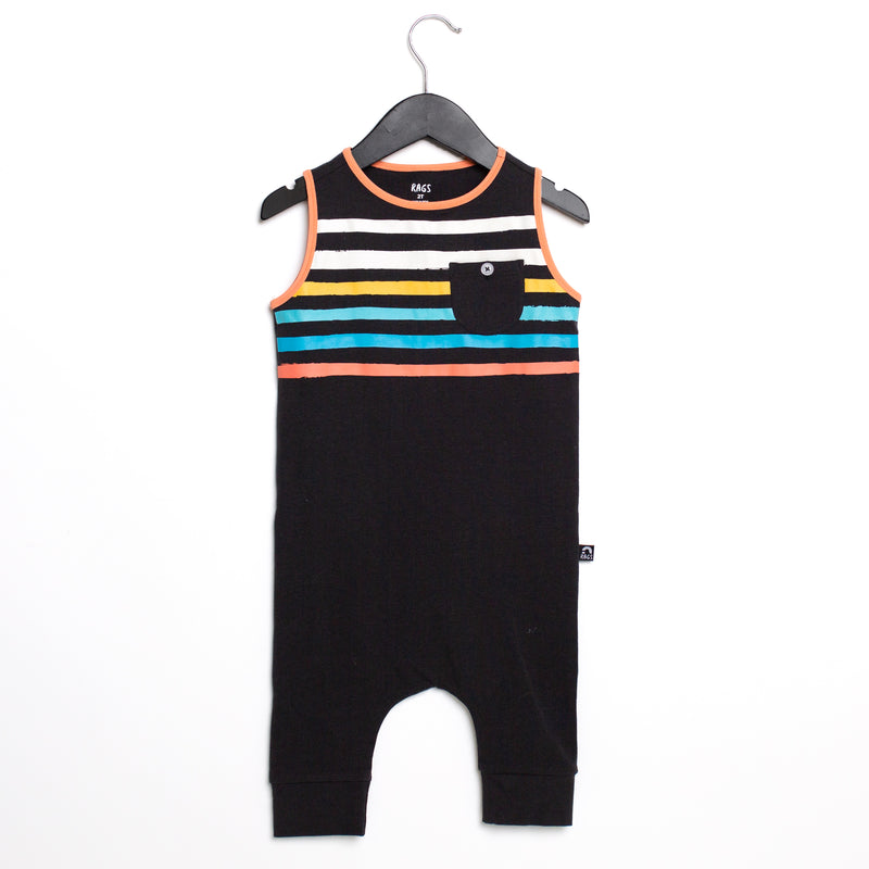 Tank Capri Chest Pocket Rag Romper - 'Paint Stripes' - Phantom