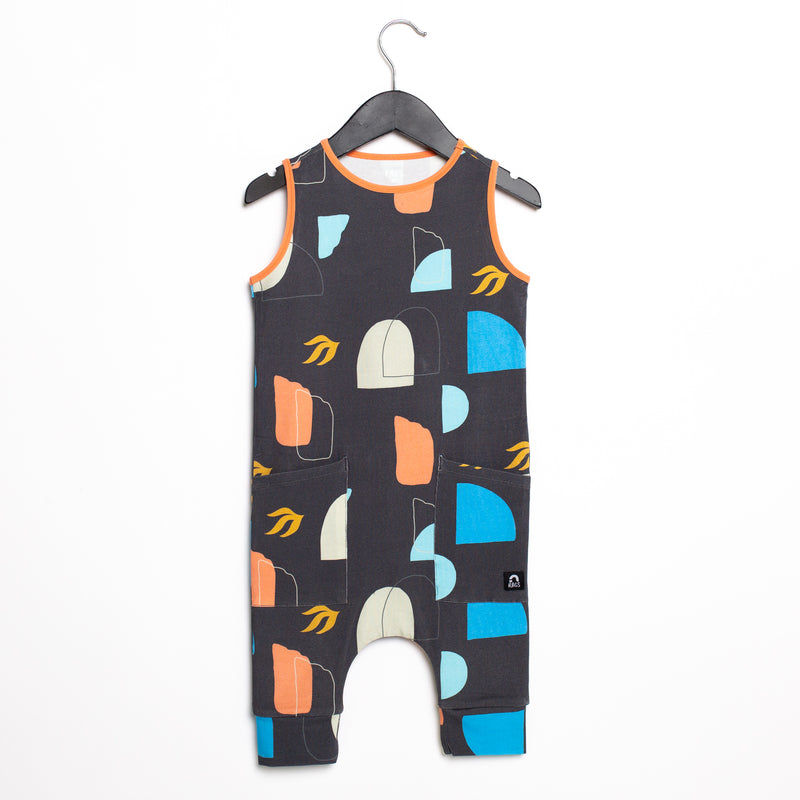 Tank Capri Hip Pocket Rag Romper - 'Abstract Shapes' - Phantom