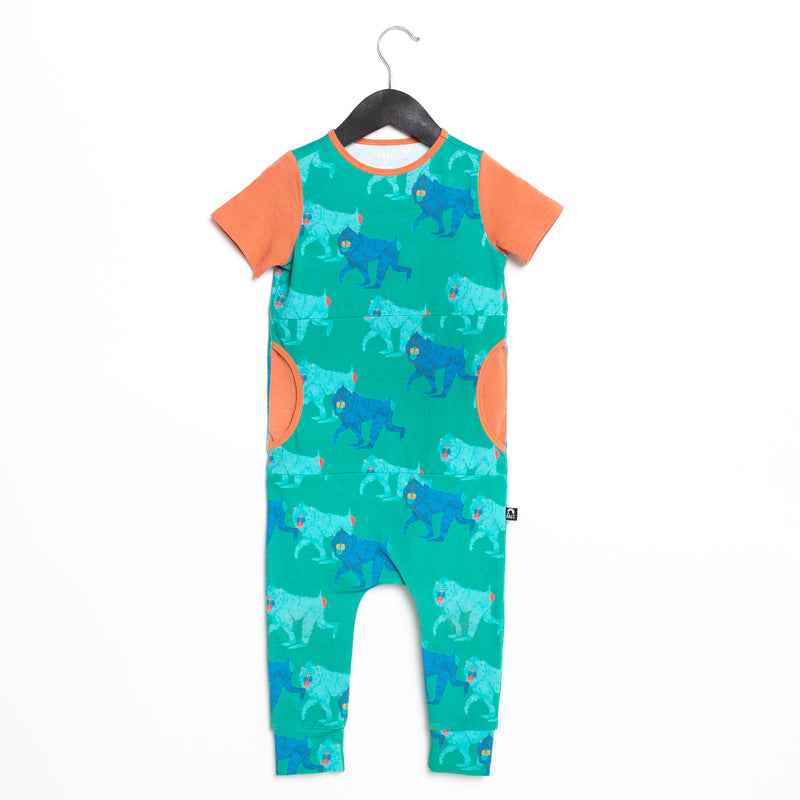 Short Sleeve Peek Pocket Rag Romper - 'Baboons' - Lagoon