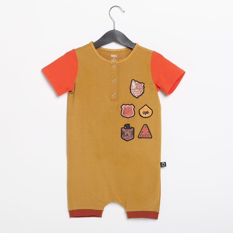 Short Sleeve Henley Short Rag Romper - 'Outdoor Patches' - Wood