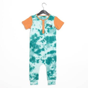 Short Sleeve Henley Pocket Rag Romper - 'Pocket Rainbow' - Ivy Tie-Dye
