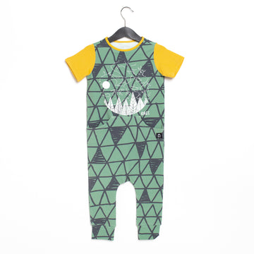 Short Sleeve Faux Pocket Rag Romper - 'Starry Night' - Basil Big Triangle