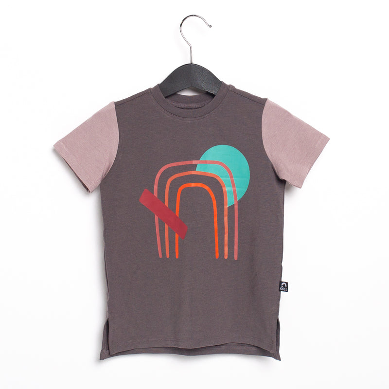 Short Sleeve Tee - 'Abstract Rainbow' - Volcanic Glass