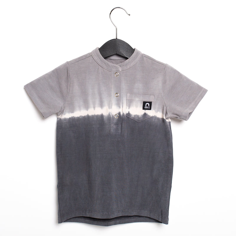Short Sleeve Henley Pocket Rounded Kids Tee - '$23 at Checkout' - 'Shadow Grey Dip Dye' - Urban Chic