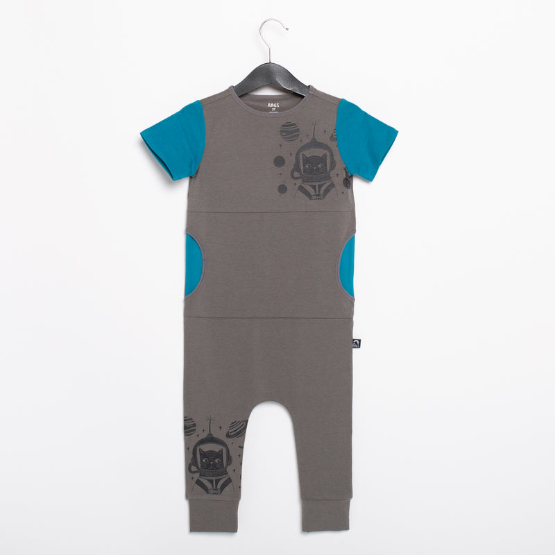 Short Sleeve Peek Pocket Rag Romper - 'Catstronaut' - Pewter