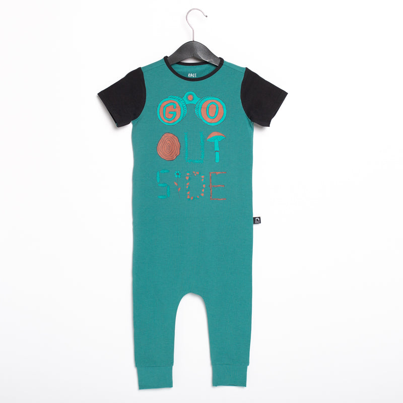 Short Sleeve Rag Romper - 'Go Outside' - Teal