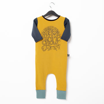 3/4 Sleeve Rag Romper - 'Grow' - Mustard Gold