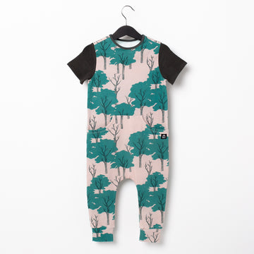 Short Sleeve Faux Pocket Rag Romper - 'Summer Park Trees' - Peach Whip