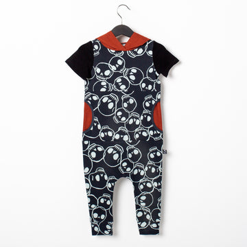 Short Sleeve Hooded Peek Pocket Rag Romper - 'Skulls' - Black
