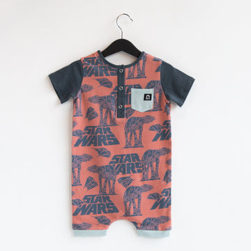 Short Sleeve Henley Short Pocket Rag Romper - 'AT AT' - Star Wars Collection from RAGS