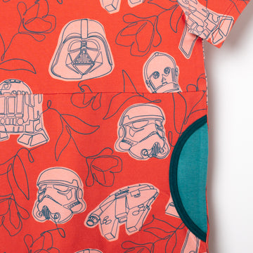 Short Sleeve Peek Pocket Rag Romper - 'Star Wars Floral' - Star Wars Collection from RAGS