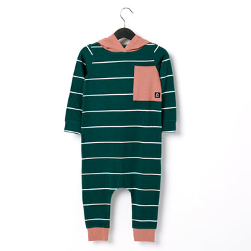 Long Sleeve Hooded Big Pocket Rag Romper - 'Forest Green Stripe' - Light Mahogany