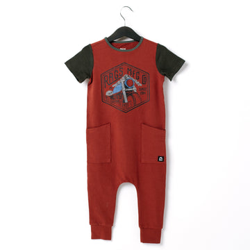 Short Sleeve Hip Pocket Rag Romper - 'Moto Club' -  Red Ochre