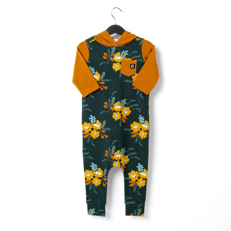 3/4 Sleeve Hooded Pocket Rag Romper - 'Fall Floral Bunch' - Pumpkin Spice