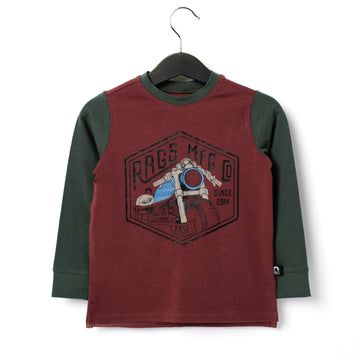 Long Sleeve Tee - 'Moto Club' - Red Ochre