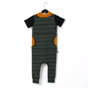 Short Sleeve Hooded Peek Pocket Rag Romper - 'Jet Set Blue Stripe' - Pumpkin Spice - Size 3-6M