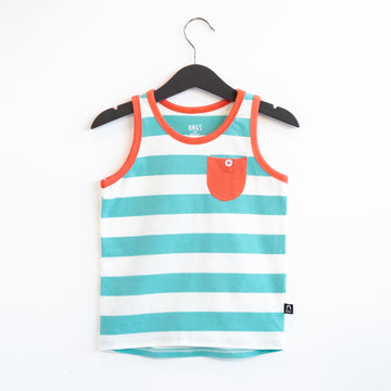 Tank Kids Pocket Tee - 'Blue Big Stripe' - Tibetan Stone