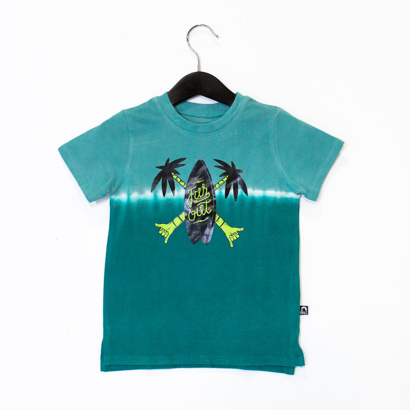 Short Sleeve Kids Tee - 'Far Out Surfboard' - Bristol Blue Dip Dye CAW