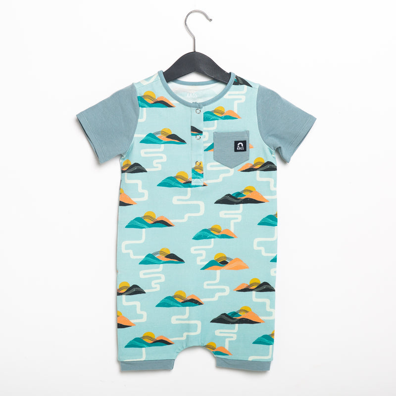 Short Sleeve Henley Pocket Short Rag Romper - 'Summer Mountains'