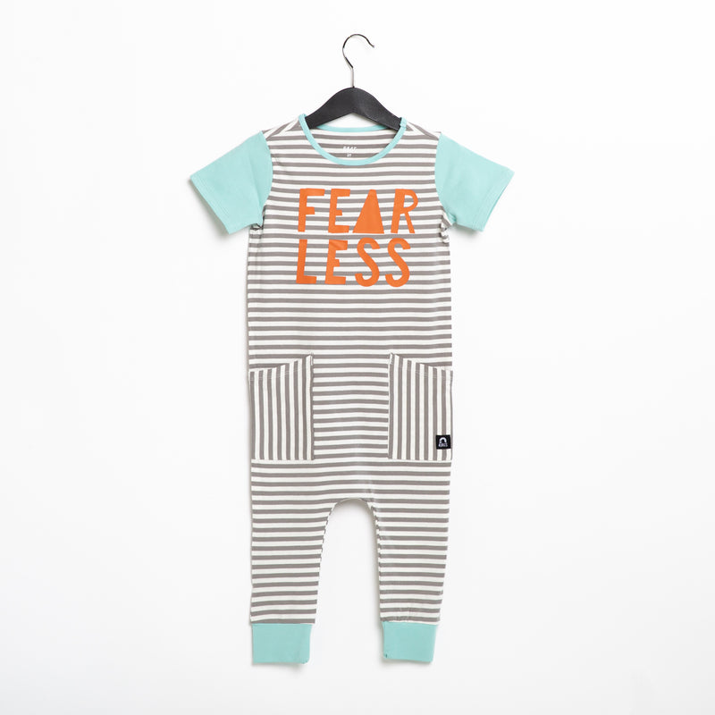 Short Sleeve Hip Pocket Rag Romper - 'Fearless' - Gray & White Stripe