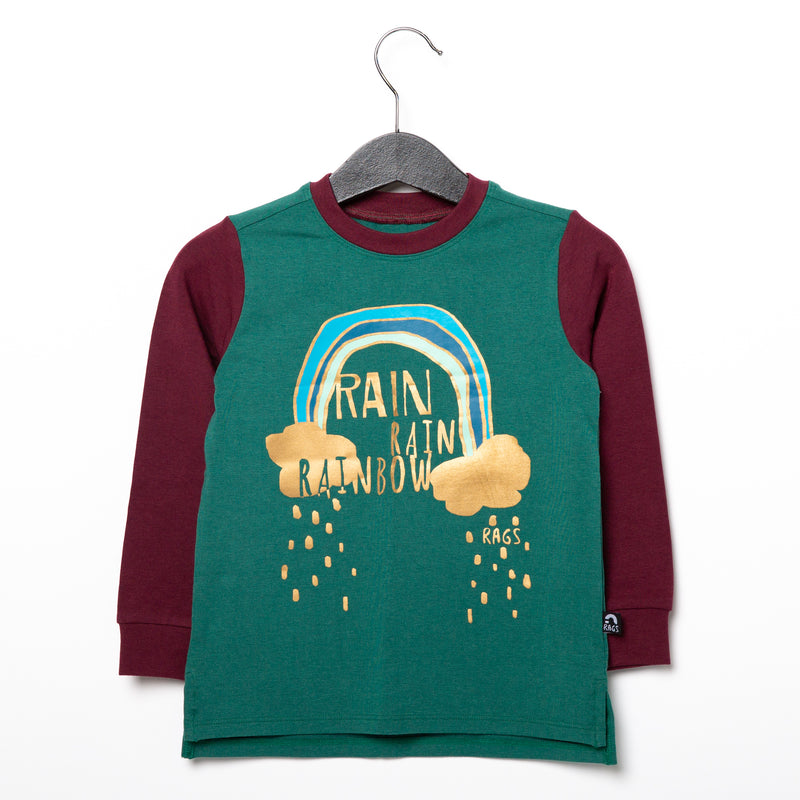 Long Sleeve Kids Tee - 'Rain Rain Rainbow' - Alpine Green