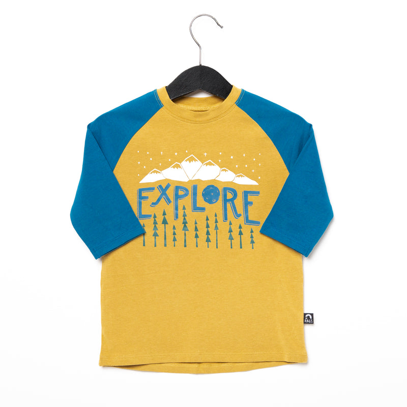 3/4 Raglan Sleeve Rounded Tee - '$22.75 at Checkout' - 'Explore' - Mustard Gold