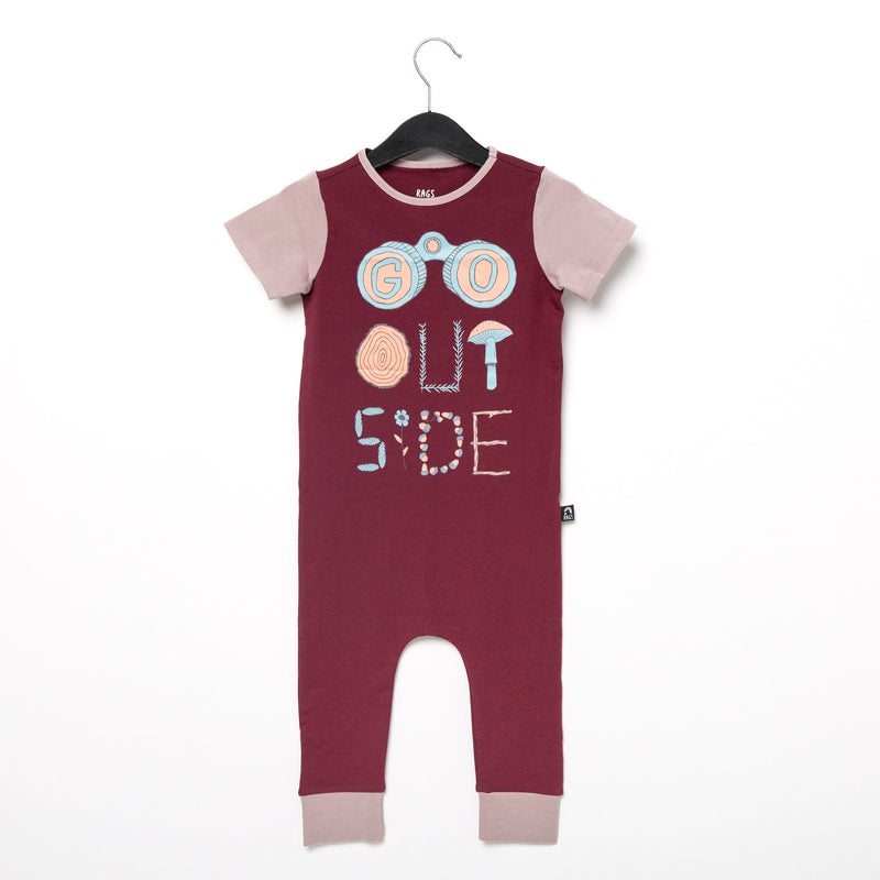 Short Sleeve Rag Romper - 'Go Outside' - Windsor Wine