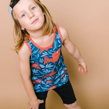 Tank Kids Pocket Tee - 'Jungle Tiger' - Pond Blue