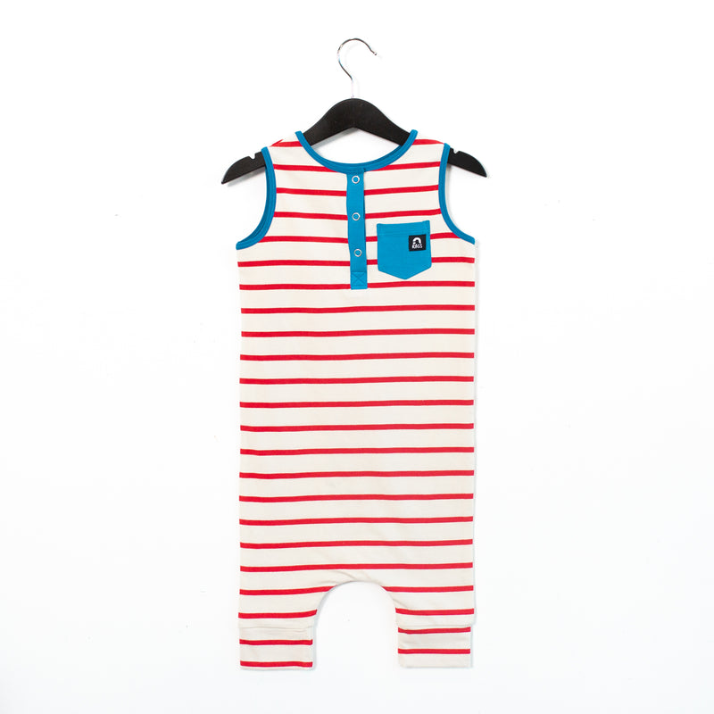Tank Henley Capri Pocket Rag Romper - 'Red White & Blue' - Regatta