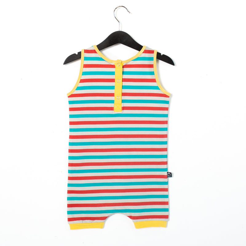 Tank Henley Short Rag Romper - 'Triple Summer Stripe' - Red, Grey & Blue