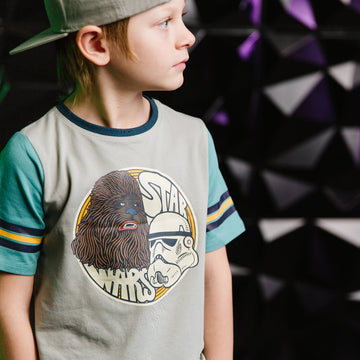 Retro Sleeve Kids Tee - 'Stormtrooper & Chewie' - Star Wars Collection from RAGS