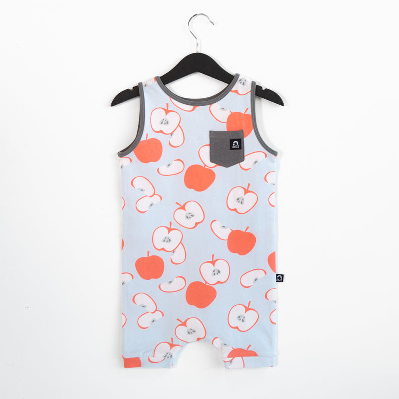 Tank Pocket Short Rag Romper - 'Apples' - Wan Blue